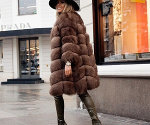 blonde, fur, and outfit image