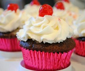 cupcake, cherry, and pink image