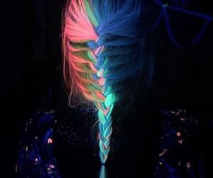 hair, neon, and braid image