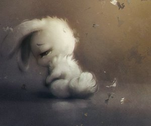 sad, rabbit, and bunny image