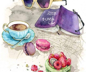 coffee, book, and macaroons image