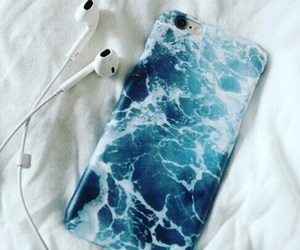 case, earbuds, and ocean image