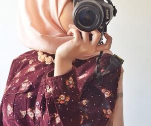 hijab, camera, and islam image