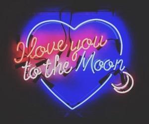 neon, light, and moon image