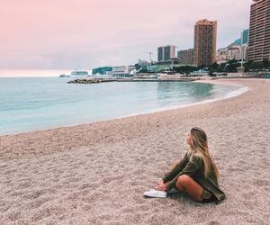 beach, city, and girl image
