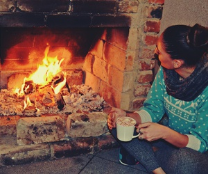 coffee, cozy, and fire image