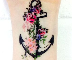 tattoo, anchor, and flowers image