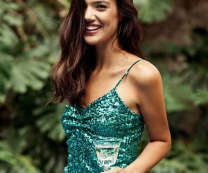green, crop top, and long skirt image