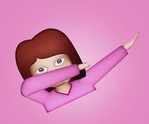 dab, pink, and emoji image