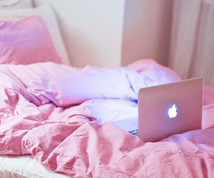 pink, girl, and macbook image