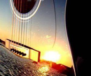 guitar, music, and beach image