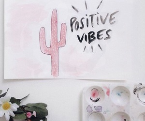 art, cactus, and flowers image