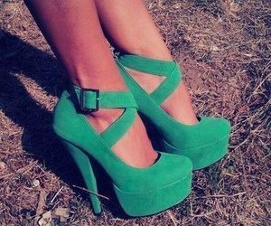 fashionable, green, and heels image