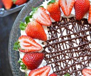 cake, strawberry, and cheesecake image