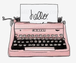 pink, hello, and typewriter image