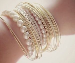 bracelet, pearls, and gold image