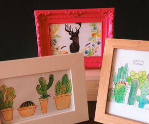 artworks, cactus, and deer image