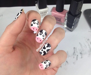 cows, nails, and girl image