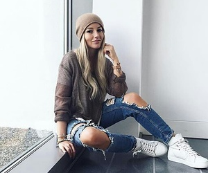 girl, ripped jeans, and style image