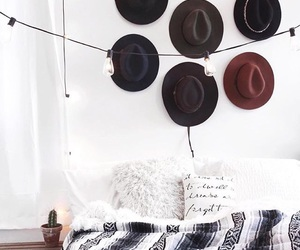hat, room, and bedroom image