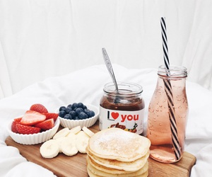 nutella, pancakes, and strawberry image