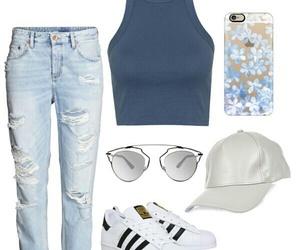 adidas, whiteshoes, and boyfriend jeans image
