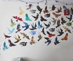 bird, wall, and fly image