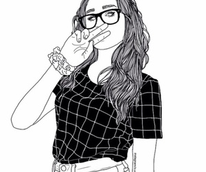 girl, outline, and white image