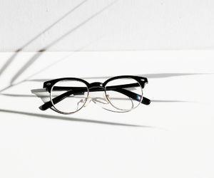 black, glasses, and white image