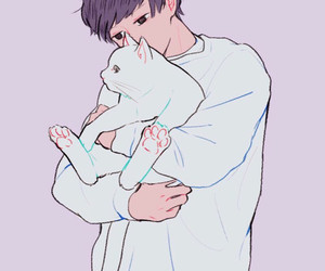 art, boy, and cat image