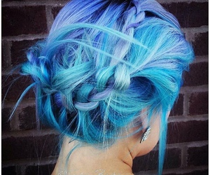 blue hair, pastel hair, and colored hair image