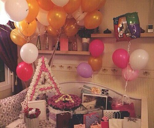 birthday, balloons, and flowers image