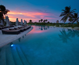 pool, photography, and sunset image