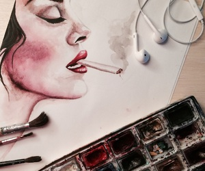 art, cigarettes, and watercolor image