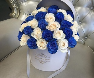 blue, flowers, and wedding image