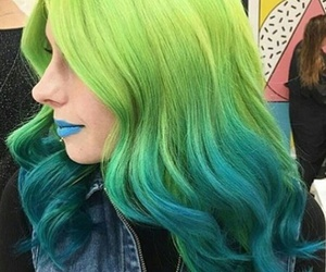 blue matte lipstick, light blue lipstick, and curled ombre hair image
