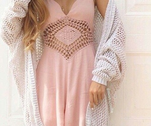 beige, cardigan, and dress image