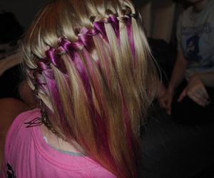 hair, braid, and pink image