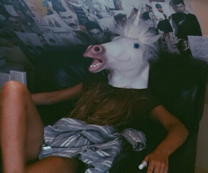 unicorn, girl, and grunge image