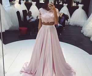 dress, pink, and wedding image