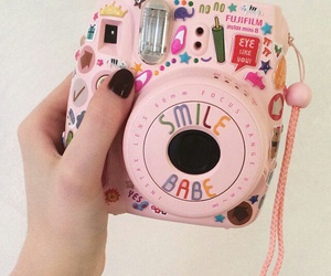 pink, camera, and smile image
