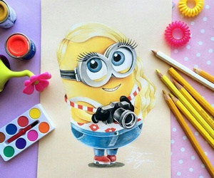 minions, art, and drawing image
