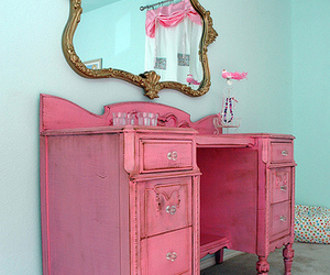 pink, mirror, and vintage image