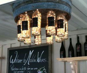 light, bottle, and wine image