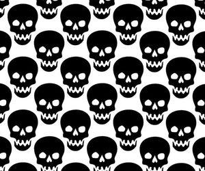 black, skull, and wallpaper image
