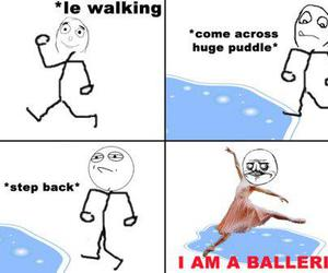 ballerina, funny, and puddle image