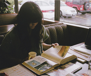 book, coffee, and alone image