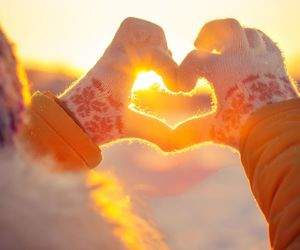 heart, sunset, and winter image