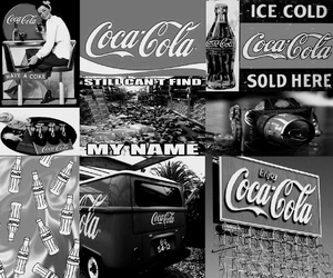 background, black and white, and coca cola image