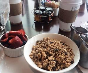 breakfast, strawberries, and coffee image
